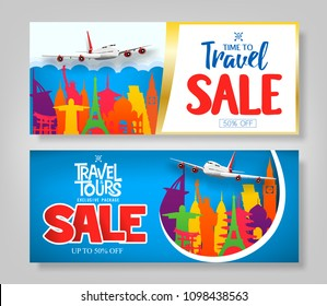 Colorful Creative Travel Sale Banner Set with Famous Landmark Icons Around The World for Advertisement Purposes. Vector Illustration