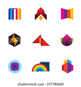 Colorful creativity inspiration design for professional company vector logo icons - Stock Illustration