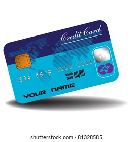 Colorful credit card colored in dark and light blue, world map and security symbols