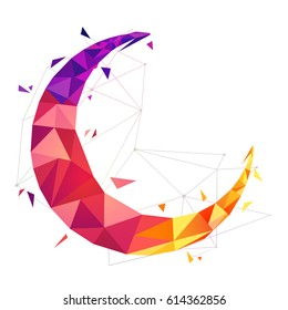 Colorful Crescent Moon in abstract low poly style for Muslim Community Festivals celebration.