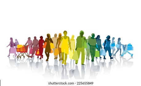 Colorful crowd of shopping people. Happy people holding shopping bags