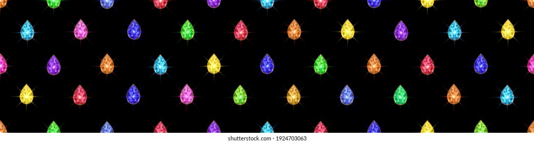 Colorful crystal gems. Seamless vector illustration.