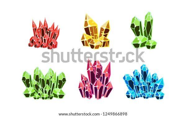 Colorful crystals set, mineral stone rocks vector Illustration on a white background