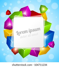 Colorful Cube Design on blue background