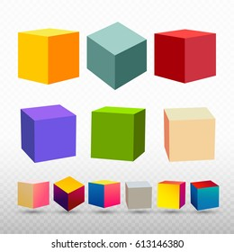 Colorful cube icon with set perspective. 3d model of a cube. Vector illustration. Isolated on transparent background