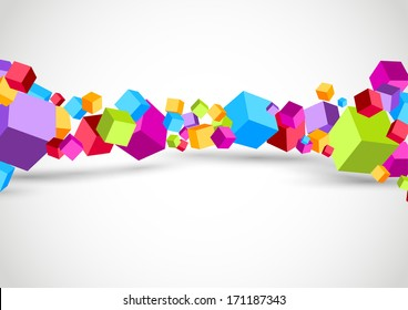 Colorful cubes 3D background. Vector illustration