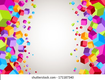 Colorful cubes on the sides - geometrical background. Vector illustration