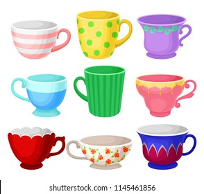 Colorful cup set, different tea or coffee cups vector Illustrations on a white background