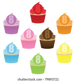 Colorful cupcake collection with a number 8 on them, for 8th Birthday.
