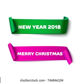 Colorful curl paper ribbon with roll, realistic vector illustration. Merry Christmas and Happy New Year design template