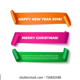 Colorful curved paper ribbon with roll, realistic vector illustration. Merry Christmas and Happy New Year 2018 greeting card, banner, poster design