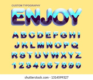 Colorful curves rounded vintage typography