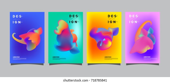 Abstract  Colorful curvy liquid covers and poster set. Bubble shapes layout design composition and template.