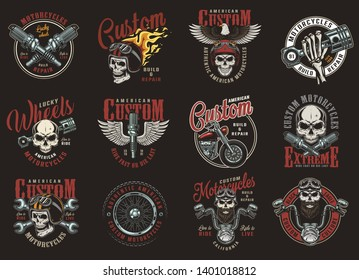 Colorful custom motorcycle prints with inscriptions eagle motorbike parts biker and motorcyclist skulls in helmets in vintage style isolated vector illustration