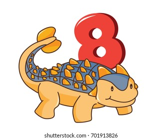Colorful Cute Baby Ankylosaurus With Number, Suitable For Education, Birthday Invitation, Mascot, Event, Baby Clothing, and Other Children Related Occasion