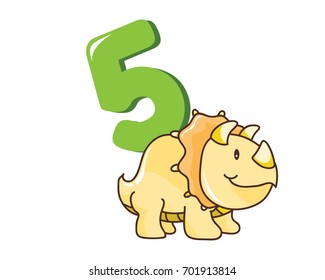 Colorful Cute Baby Triceratops With Number, Suitable For Education, Birthday Invitation, Mascot, Event, Baby Clothing, and Other Children Related Occasion