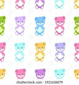 Colorful cute bears. Teddy bears pastel colored, birthday, t-shirt design, baby shower...etc fabric design pattern