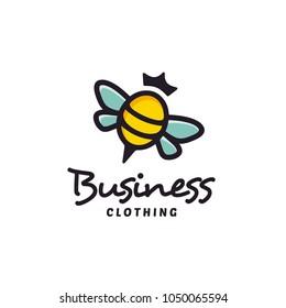 Colorful Cute Bee Queen logo design inspiration