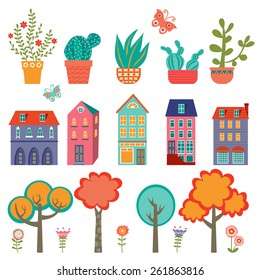 Colorful cute city collection - plants, houses and trees. Vector illustration