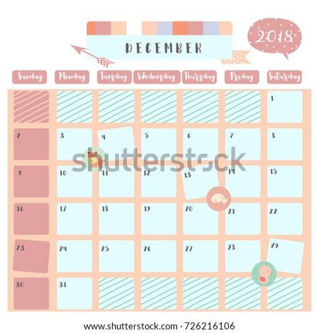 Colorful Cute December 2018 Calendar Hippopotamuscat Stock Vector