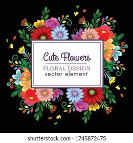 colorful cute floral design vector element vector download