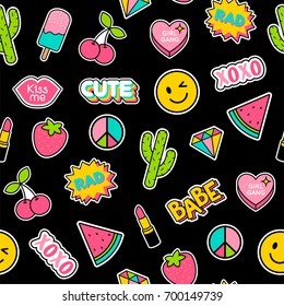 Colorful cute girls fashion patches seamless pattern