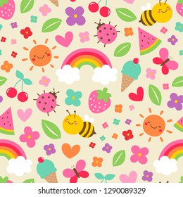 Colorful cute hand drawn cartoon insect ,rainbow, sun, flower and fruit seamless pattern background