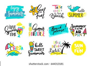 Colorful cute hand drawn summer cards, background. Vector illustrations for t-shirt, poster prints. Holiday, travel, vacation theme.
