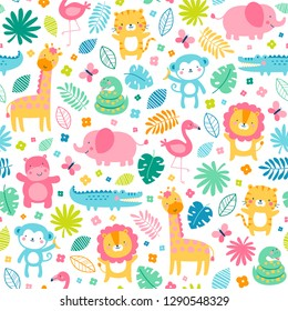 Colorful cute jungle animals with flower and leaf seamless pattern background