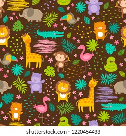 Colorful cute jungle animals with tropical leaf seamless pattern background