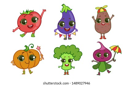 Colorful Cute kawaii Vegetables Set, Vegetarian Food Characters with Funny Faces, Tomato, Eggplant, Potato, Pumpkin, Broccoli, Beetroot Vector Illustration