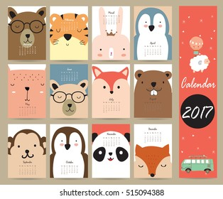 Colorful cute monthly calendar 2017 with bear,penguin,monkey and tiger.Can be used for web,banner,poster,label and printable