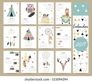 Colorful cute monthly calendar 2017 with tent,whale,feather,arrow and wild.Can be used for web,banner,poster,label and printable