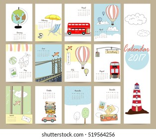 Colorful cute monthly calendar 2017 with bus,airplane,balloon,camera on summer travel vacation.Can be used for web,banner,poster,label and printable