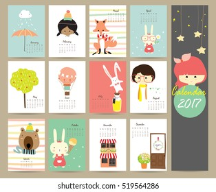 Colorful cute monthly calendar 2017 with fox,balloon,bear,tree and rabbit.Can be used for web,banner,poster,label and printable