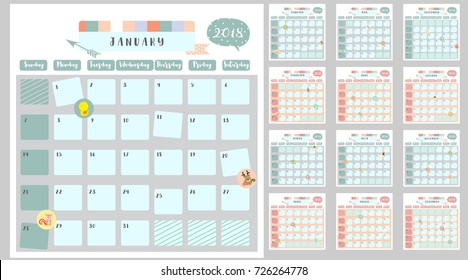 Colorful cute monthly calendar 2018 with squirrel,duck,reindeer,hippopotamus,giraffe,cat,lion and bear.Can be used for web,banner,poster,label and printable