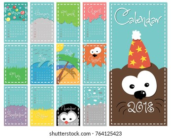 Colorful, cute monthly calendar for 2018 year of a dog. vector