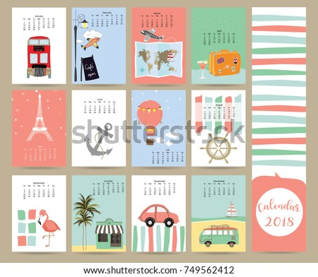 Colorful Cute Monthly Calendar 2018 Busmapseacarballoontravel Stock