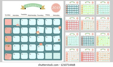 Colorful cute monthly calendar 2019 with lion,fox,cat,bear,balloon.Can be used for web,banner,poster,label and printable
