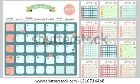 Colorful Cute Monthly Calendar 2019 Lionfoxcatbearballoon Stock