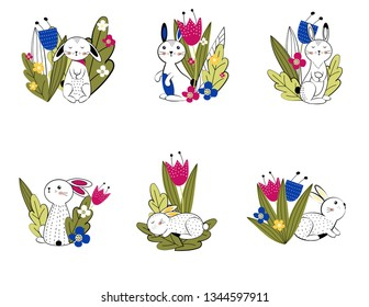 Colorful and cute rabbits beween spring or summer flowers. Vector illustartion