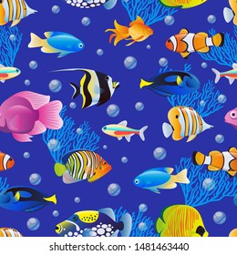 Colorful cute sea fishes collection on blue water background. Vector seamless pattern. Cartoon aquarium kids textile print design. Tropical marine life cartoon illustration.