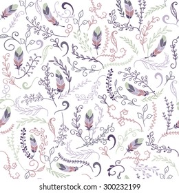 colorful cute seamless floral pattern with feathers
