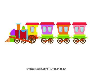 Colorful cute toy train with carriages. Cartoon children train concept. Vector illustration for presents, invitation, children room, nursery decor, interior design.