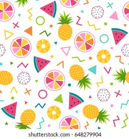 Colorful cute tropical seamless pattern background