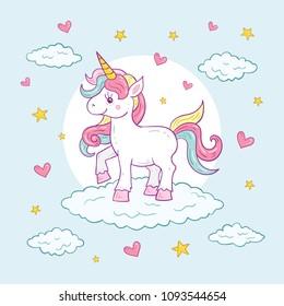 Colorful Cute Unicorn Character Illustration