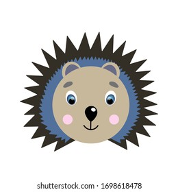 Colorful cute vector hedgehog face. One object on a white background. Cartoon flat illustration. Emoji funny animal. Embarrassed smile emotion. Template icon. Logo, sticker.