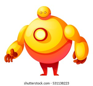 colorful cute vector robot isolated on white background. Cyborg futuristic design robotic toy