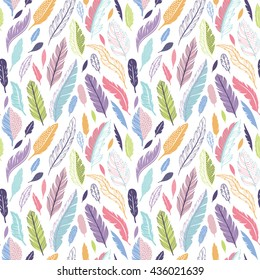 Colorful cute vector seamless pattern with variety of feathers