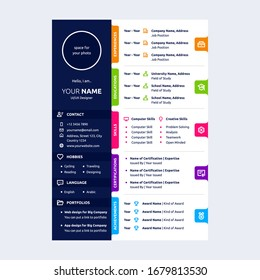 colorful cv design template with line icons